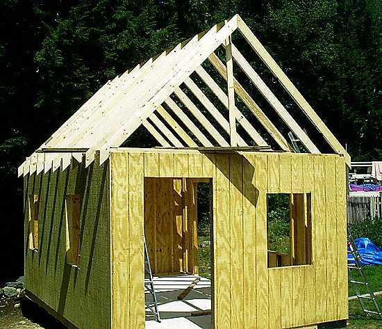 12 x 18 plywood sided cabin-office - roof framing up