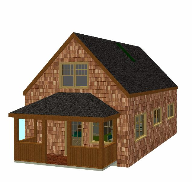 20 x 30 cottage with porch from outside