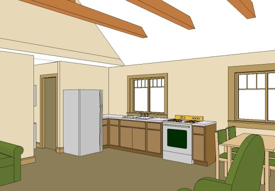 20 x 30 1-floor cottage with open beam ceiling and galley kitchen
