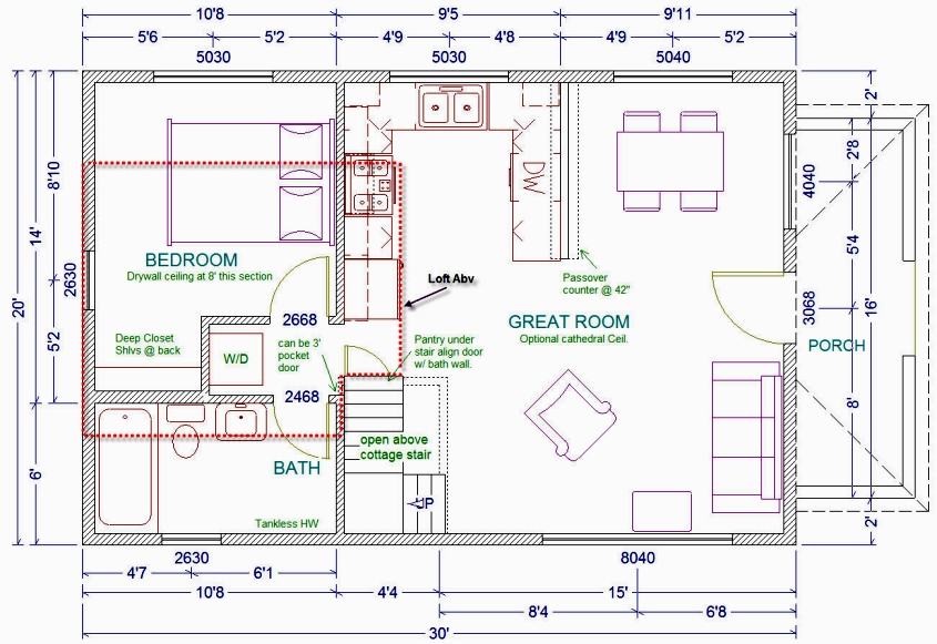 20x30 cabin floor plans homedesignpictures for One and one half story house plans