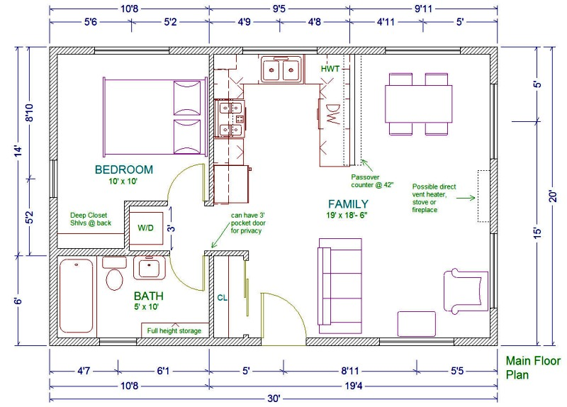 20x30 cabin floor plans homedesignpictures for 1 story cottage floor plans