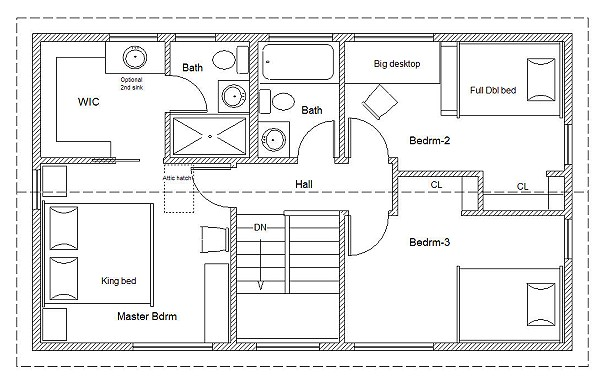 20 wide easy to customize home cottage or cabin plans 20 x 34 universal cottage second floor plan malvernweather Image collections