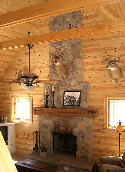 stone fireplace from loft