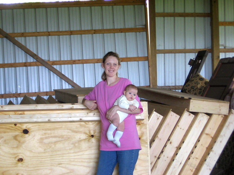 woman built wall panels in barn
