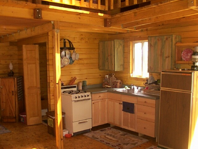 14 x 24 owner built cabin for Small cabin kitchen designs