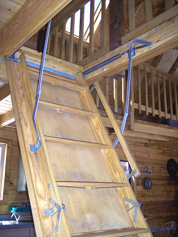 14 x 24 owner built cabin w loft truth is treason Motorized attic stairs