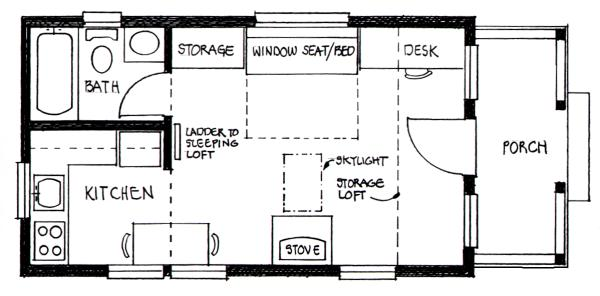14x24 builder 39 s cottage home plan for Free small cabin plans with loft